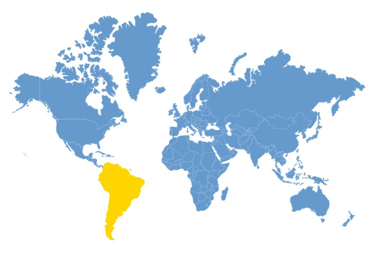 World Map - South America